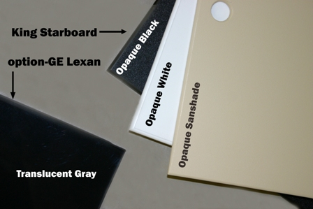 Lexan and Starboard cover colors for Hale Pet Door models